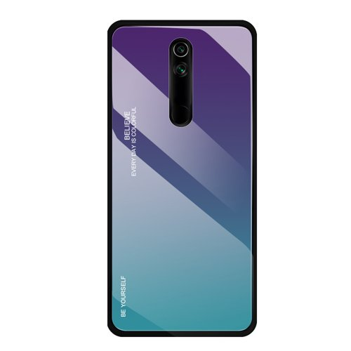 Gradient Glass Durable Cover with Tempered Glass Back Huawei Mate 20 Lite green-purple
