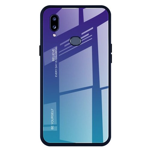 Gradient Glass Durable Cover with Tempered Glass Back Samsung Galaxy A20e green-purple