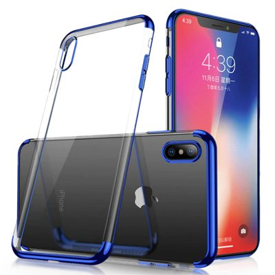 Clear Color Case Gel TPU Electroplating frame Cover for Xiaomi Redmi Note 7 blue