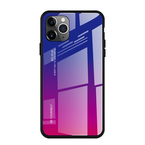 Gradient Glass Durable Cover with Tempered Glass Back iPhone 11 Pro Max pink-purple